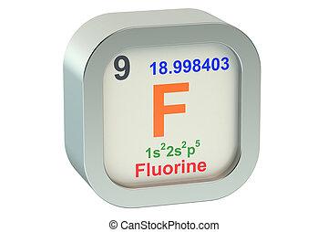 Fluorine element isolated on white background