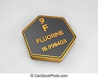 fluorine - F - chemical element periodic table hexagonal shape 3d illustration