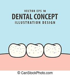 Fluorosis teeth white spot illustration vector on blue background. Dental concept.