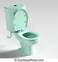 Flush toilet. - 3d rendering of blue toilet.