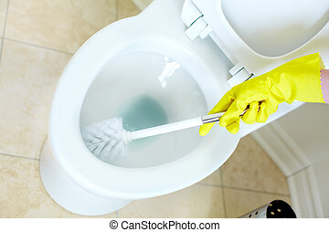 Flush toilet. Cleaning - Modern flush toilet. Cleaning