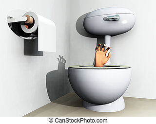 Flushed Away - Humorous image of someone being flushed down...