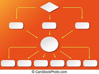 flussdiagramm, breit, fondo anaranjado