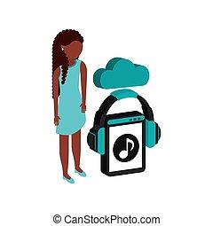 flusso continuo, ragazza, afro, nuvola, musica