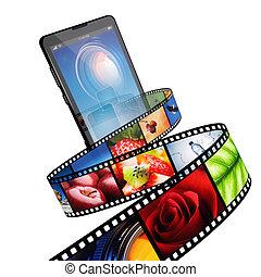 flusso continuo, video, con, moderno, telefono mobile