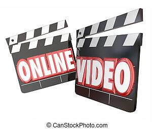 flusso continuo, video, internet, vista, film, sito web, orologio, linea, contenuto