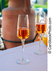 Flut? glass for drink, taken during the welcome buffet of a ceremony