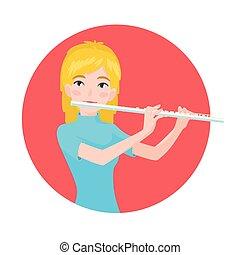 flute., 古典である, 促される, 音楽家, フルート奏者, プレーしなさい, 遊び, instrument., vector., 女の子, ミュージカル