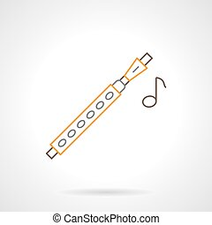 Flute melody flat line vector icon