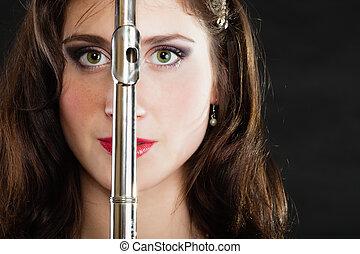 flute., mujer, flautista, flautista, music., art.