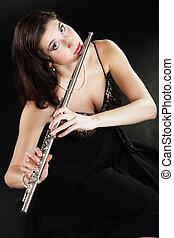 flute., mujer, flautista, flautista, music., juego, art.