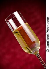 flute of golden champagne