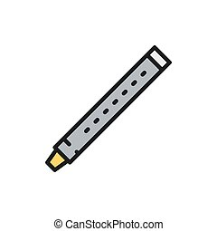 Vector flute, sopilka, clarinet, bassoon flat color line icon. Symbol and sign illustration design. Isolated on white background