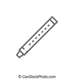 Vector flute, sopilka, clarinet, bassoon line icon. Symbol and sign illustration design. Isolated on white background