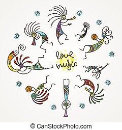 flutes., mítico, circle., kokopelli, mano, estilizado,...