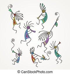 flutes., mítico, kokopelli, mano, estilizado, caracteres,...
