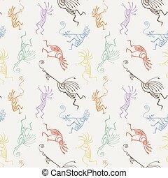 flutes., mítico, kokopelli, pattern., seamless, mano,...