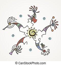 flutes., mythique, circle., kokopelli, main, stylisé, caractères, dessiné, jouer