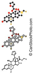 Fluticasone furoate corticosteroid drug molecule. Used in treatment of allergic rhinitis, COPD and chronic bronchitis.