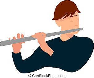 Flutist, illustration, vector on white background.