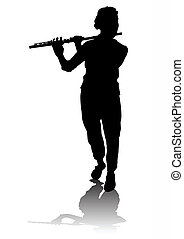 flutist - vectors musician. Saved in the eps for Illustrator...
