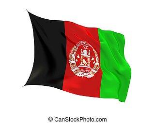 Fluttering 3d flag of Afganistan isolated on white