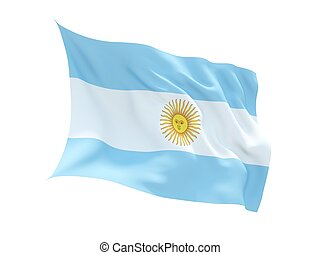 Fluttering 3d flag of Argentina isolated on white