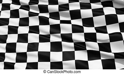 Fluttering Black And White Chequered or Checkered Flag used...