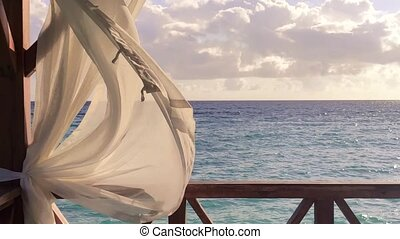 Fluttering curtains overlooking the Caribbean sea 2 - ...