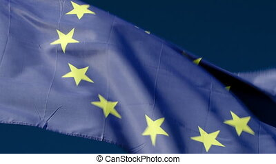 Fluttering flag of European Union - Close-up shot of...