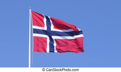 Fluttering Norwegian flag - A Norwegian flag fluttering in...
