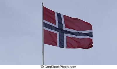 Fluttering Norwegian flag in slow motion - Fluttering ...