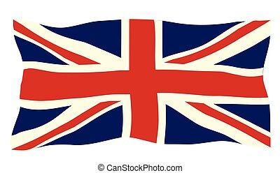 Fluttering Union Jack Flag