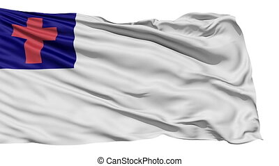 Fluttering White Christian Flag - Flying white Christian...
