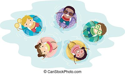 flutuador, stickman, piscina, ilustração, crianças