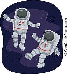 flutuante, astronautas, espaço