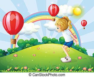 flutuante, balões, tocando, menina, colina