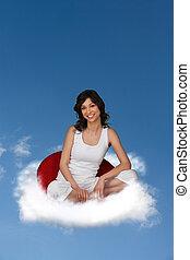 flutuante, mulher, nuvem