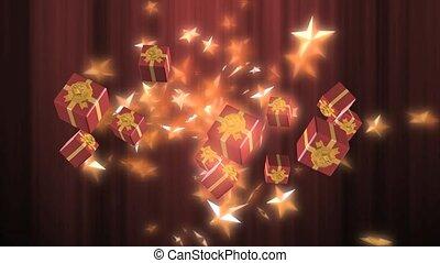 flutuante, presentes, e, estrelas