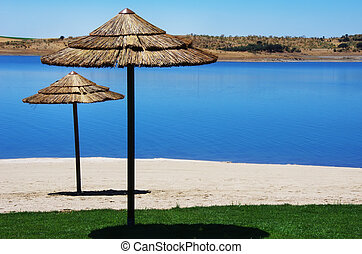 fluvial beach, alqueva lake, south of Portugal