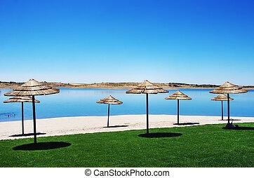 fluvial beach at alqueva lake, south of Portugal