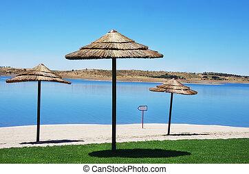 fluvial beach in alqueva lake, Mourao, Portugal