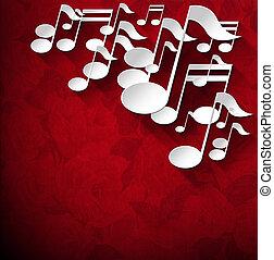 fluweel, -, aantekening, rozen, muziek, achtergrond, rood
