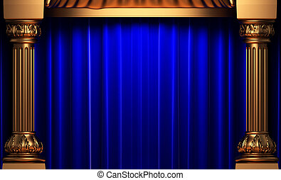fluweel, achter, blauwe , goud, gordijnen, kolommen