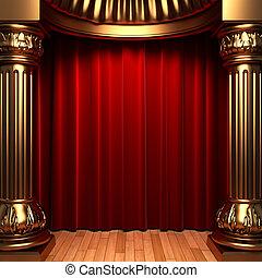 fluweel, achter, kolommen, goud, gordijnen, rood