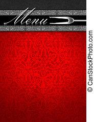 fluweel, menu, -, mal, zilver, rood