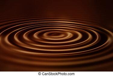 fluweel, ripples, chocolade