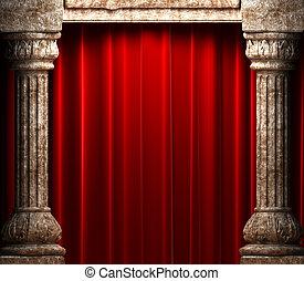 fluweel, steen, achter, kolommen, gordijnen, rood
