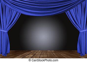 fluweel, theater, elegant, gevormd oud, curtains., toneel