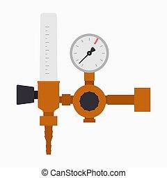fluxo, controlador, regulador, manometer, gás